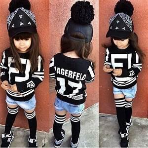 Shorts: shirt, black and white, black, femme, long socks ...