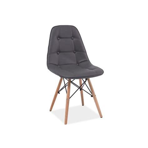 chaise simili cuir gris chaise scandinave dsw axel aspect boutonné en simili cuir