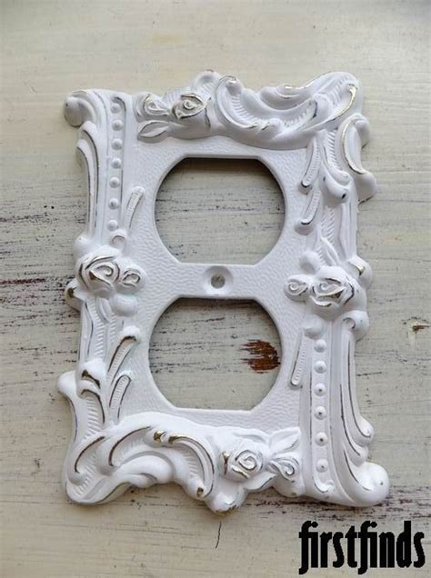 shabby chic outlet shabby chic rose outlet cover white electrical plate plug vintage wall shabby chic distressed