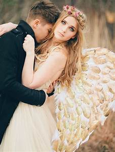 angel inspired wedding With wedding dress with angel wings