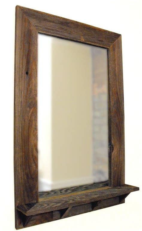 Wood Frame Mirror For Bathroom by Barnwood Framed Mirror With Shelf Via Etsy Projects