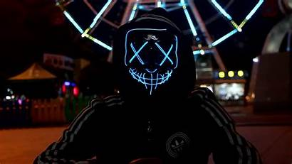 Mask Led Wallpapers Neon Halloween Purge Imagenes