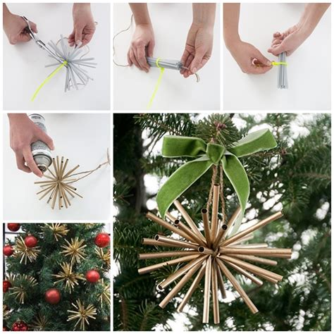 wonderful diy gold star ornaments  drinking straw