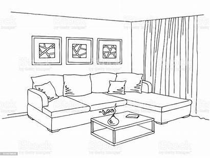 Living Sketch Interior Graphic Apartment Furniture Dessin