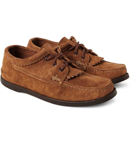 hurley suede moccasine 4 lyst yuketen fringed suede moccasin shoes in brown for