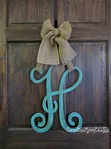 single letter monogram wooden door decor from With single letter monogram for front door