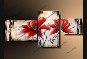 Tableau Fleurs Moderne : tableau moderne fleurs rouges tableau pinterest ~ Teatrodelosmanantiales.com Idées de Décoration