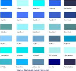 farbpalette blau different shades of blue a list with color names and codes drawing
