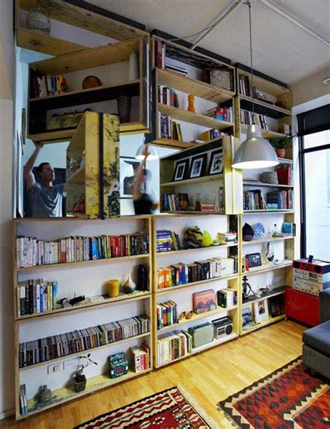 Rotating Bookcase Wall Made From Recycled Materials