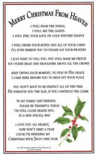 Merry Christmas Heaven Ornament And Poem