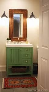 Painted green bathroom vanity rooms their bath pinterest for Painted vanities bathrooms