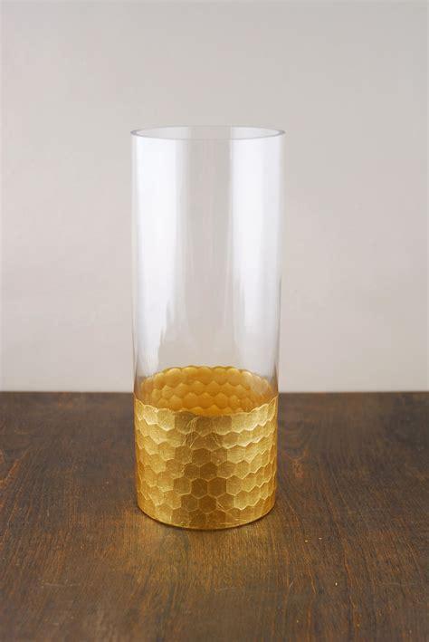 gold honeycomb cylinder vase