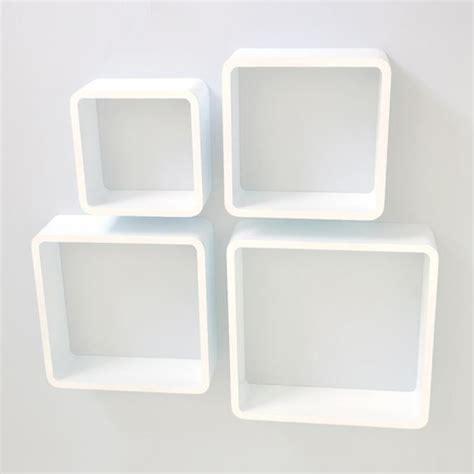U00c9tagu00e8re cube murale de 4 piu00e9ces Blanc - Achat / Vente etagu00e8re murale u00c9tagu00e8re cube murale 4 piu00e9ce ...