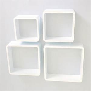 Etagere Cube Blanc : tag re cube murale de 4 pi ces blanc achat vente etag re murale tag re cube murale 4 pi ce ~ Teatrodelosmanantiales.com Idées de Décoration