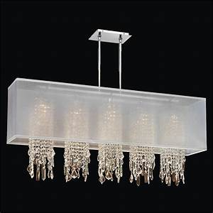 Rectangular shade chandelier with crystal omni m