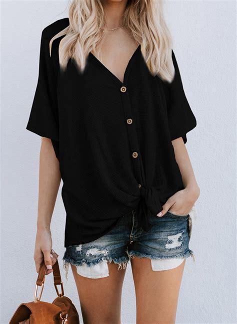 Short Sleeve Button Down Shirt For Women