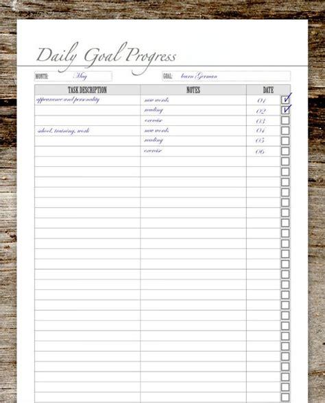 goal list templates   printable xlsx docs