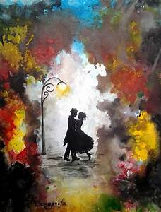 Painting Couple Dancing Umbrella | Valentine's Day - Love ...