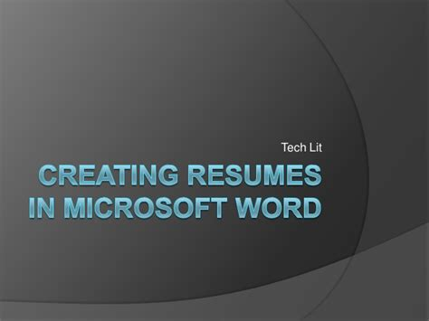 To Create Resume In Microsoft Word 2007 by Creating Resumes In Microsoft Word 2007