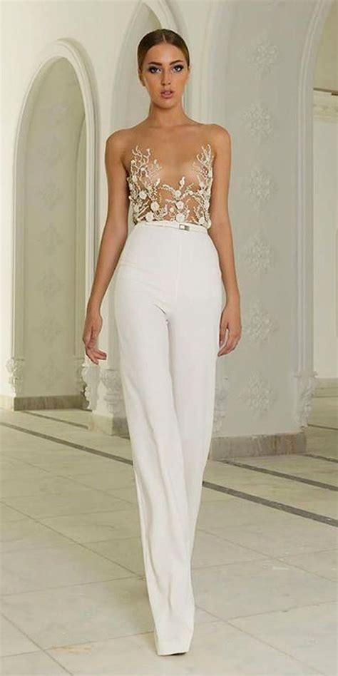 28 Gorgeous Wedding Pantsuits and Jumpsuits for Brides   Deer Pearl Flowers