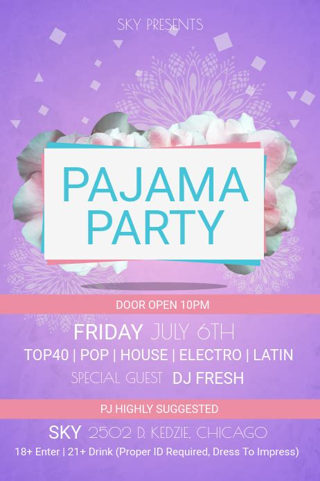 create  pajama party flyers postermywall