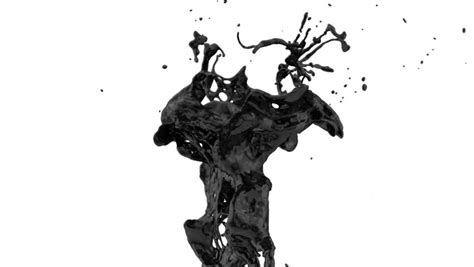 Abstract Black Color Splash by Black Color Splash In Motion Isolated On White