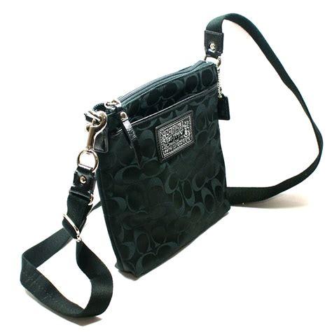 coach daisy signature sateen swingpack crossbody bag black  coach