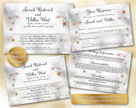 christmas theme diy wedding stationery template set on