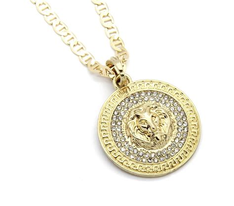 mens medallion patern lion gold plated  gucci chain