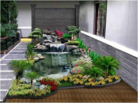 desain taman minimalis modern kolam ikan