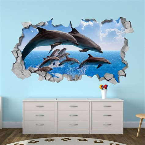 kitchen cart with doors dolphin crowd 3d wall moonwallstickers com