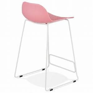 Chaise Mi Hauteur : tabouret de bar chaise de bar mi hauteur design ulysse mini pieds m tal blanc rose poudr ~ Teatrodelosmanantiales.com Idées de Décoration