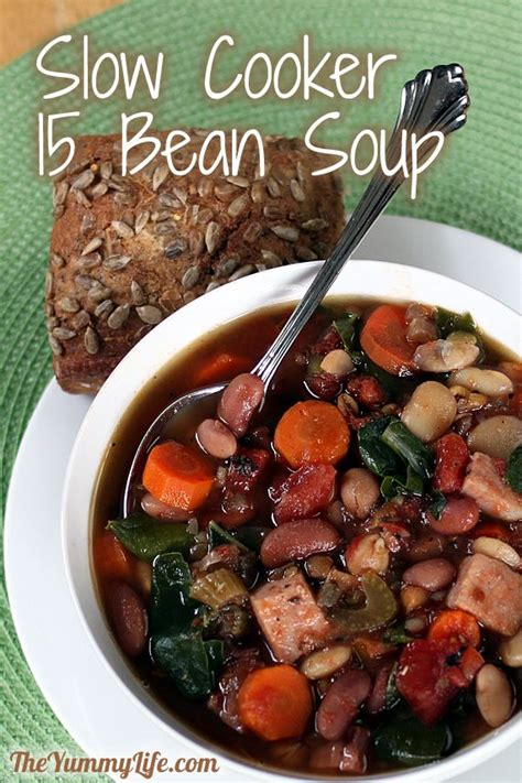 bean soup slow cooker recipe beans crockpot theyummylife nutrition recipes flavor easy crock pot mix hearty packed fiber bag vegetarian