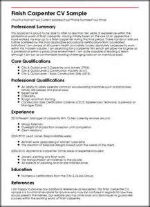 carpenter resume objective exles finish carpenter cv sle myperfectcv