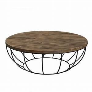 Table Basse Fer Et Bois : table basse ronde bois et m tal noir 100cm tinesixe so inside ~ Teatrodelosmanantiales.com Idées de Décoration