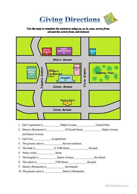 giving directions worksheet free esl printable