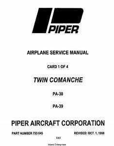 Piper Twin Comanche Service Manual Pa Pa
