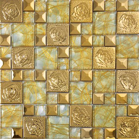 gold  stainless steel mosaic tile glass art mirror wall stickers hall backsplashes decor klgtn