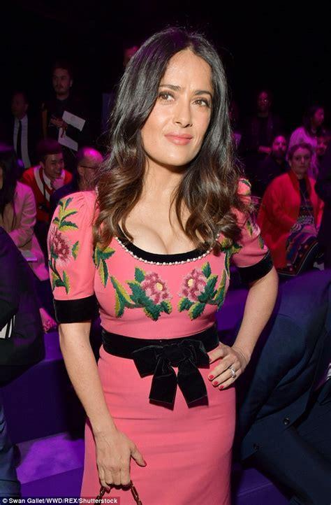 Salma Hayek joins Francois Henri Pinault at MFW Gucci show