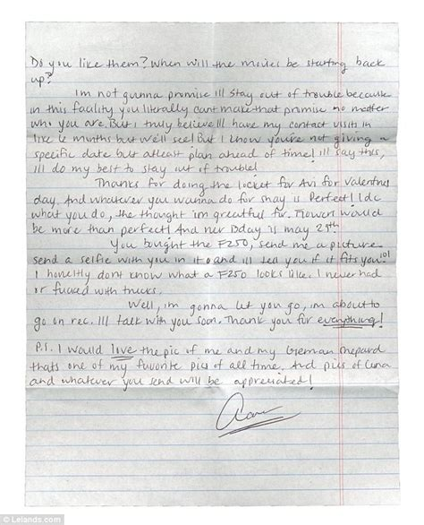 aaron hernandez prison letters aaron hernandez letter shows he couldn t stay out of