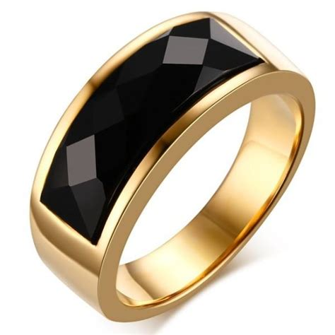newest diamond section black onyx agate gold ring