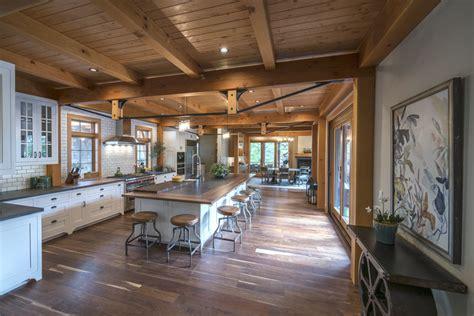 Home Interior Framed by Timber Frame Timber Frame Home Interiors New Energy Works