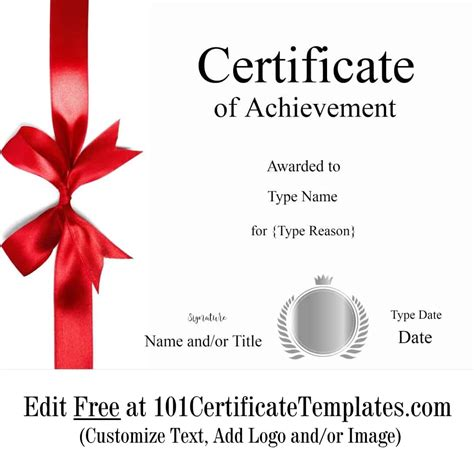printable certificate  achievement customize