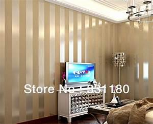 New Black and white Vertical stripe wallpaper living room ...