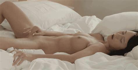 Nude Brunette Masturbating On Bed Masturbation
