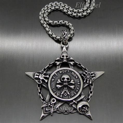 stainles steel moon pendant s skull pentacle moon masonic magic stainless steel pentagram pendant ebay