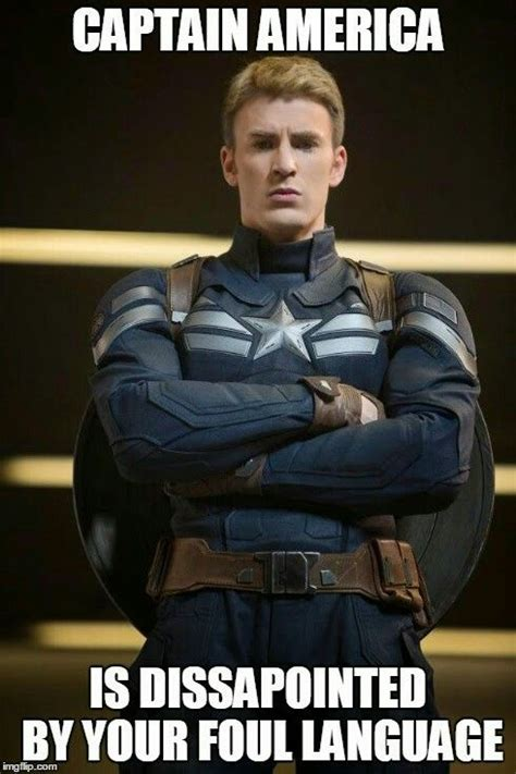 Captain America Meme - captain america is disappointed by your foul language marvel pinterest america language