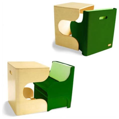 p kolino klick desk and cube chair in green modern