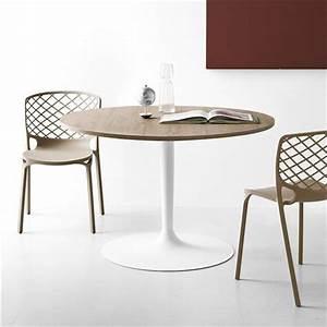 Table Bois Pied Blanc : table ronde design plateau bois pied blanc cdc design ~ Teatrodelosmanantiales.com Idées de Décoration