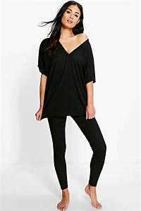 Boohoo Womens Olivia Oversized T-Shirt u0026 Leggings Loungewear   eBay